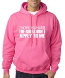 "I'm The Youngest The Rules Don,t Apply To Me Men Hoodies White-Hoodies-Gildan-Safety Pink-S To Fit Chest 36-38"" (91-96cm)-Daataadirect"
