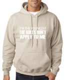 "I'm The Youngest The Rules Don,t Apply To Me Men Hoodies White-Hoodies-Gildan-Sand-S To Fit Chest 36-38"" (91-96cm)-Daataadirect"