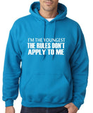 "I'm The Youngest The Rules Don,t Apply To Me Men Hoodies White-Hoodies-Gildan-Sapphire-S To Fit Chest 36-38"" (91-96cm)-Daataadirect"