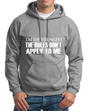 "I'm The Youngest The Rules Don,t Apply To Me Men Hoodies White-Hoodies-Gildan-Sport Grey-S To Fit Chest 36-38"" (91-96cm)-Daataadirect"