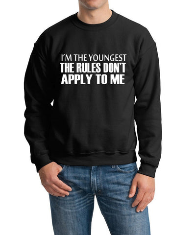 I'm The Youngest The Rules Don,t Apply To Me Men Sweat Shirts White-Gildan-Daataadirect.co.uk