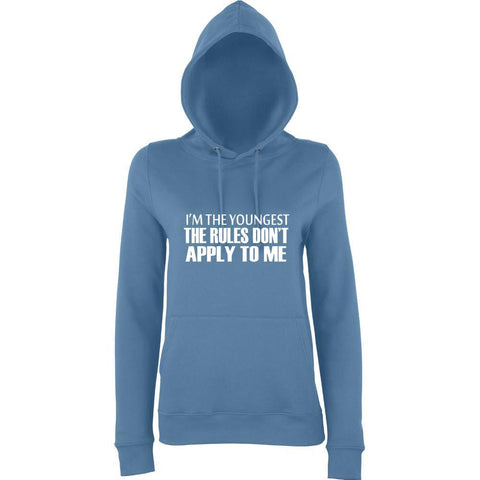 I'm The Youngest The Rules Don't Apply To Me Women Hoodies White-AWD-Daataadirect.co.uk