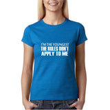 "I'm the youngest Womens T Shirts White-T Shirts-Gildan-Antique Sapphire-S UK 10 Euro 34 Bust 32""-Daataadirect"