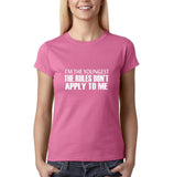 "I'm the youngest Womens T Shirts White-T Shirts-Gildan-Azalea-S UK 10 Euro 34 Bust 32""-Daataadirect"