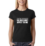 "I'm the youngest Womens T Shirts White-T Shirts-Gildan-Black-S UK 10 Euro 34 Bust 32""-Daataadirect"