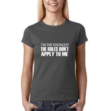 "I'm the youngest Womens T Shirts White-T Shirts-Gildan-Charcoal-S UK 10 Euro 34 Bust 32""-Daataadirect"