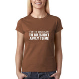 "I'm the youngest Womens T Shirts White-T Shirts-Gildan-Chestnut-S UK 10 Euro 34 Bust 32""-Daataadirect"