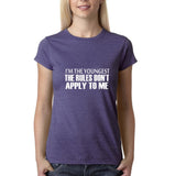"I'm the youngest Womens T Shirts White-T Shirts-Gildan-Heather Purple-S UK 10 Euro 34 Bust 32""-Daataadirect"