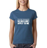 "I'm the youngest Womens T Shirts White-T Shirts-Gildan-Indigo Blue-S UK 10 Euro 34 Bust 32""-Daataadirect"