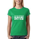 "I'm the youngest Womens T Shirts White-T Shirts-Gildan-Irish Green-S UK 10 Euro 34 Bust 32""-Daataadirect"
