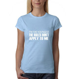 "I'm the youngest Womens T Shirts White-T Shirts-Gildan-Light Blue-S UK 10 Euro 34 Bust 32""-Daataadirect"