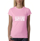 "I'm the youngest Womens T Shirts White-T Shirts-Gildan-Light Pink-S UK 10 Euro 34 Bust 32""-Daataadirect"