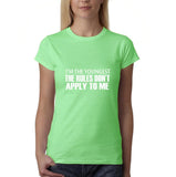 "I'm the youngest Womens T Shirts White-T Shirts-Gildan-Mint Green-S UK 10 Euro 34 Bust 32""-Daataadirect"