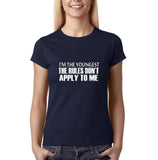 "I'm the youngest Womens T Shirts White-T Shirts-Gildan-Navy Blue-S UK 10 Euro 34 Bust 32""-Daataadirect"