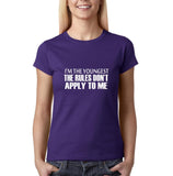 "I'm the youngest Womens T Shirts White-T Shirts-Gildan-Purple-S UK 10 Euro 34 Bust 32""-Daataadirect"
