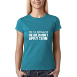 "I'm the youngest Womens T Shirts White-T Shirts-Gildan-Sapphire-S UK 10 Euro 34 Bust 32""-Daataadirect"