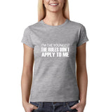 "I'm the youngest Womens T Shirts White-T Shirts-Gildan-Sport Grey-S UK 10 Euro 34 Bust 32""-Daataadirect"
