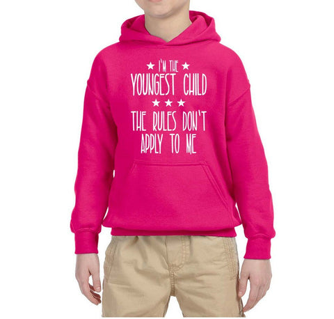 I'm Youngest Child Rules Don't Apply Kids Hoodies White-Hoodies-Gildan-Helconia-YS (5-6 Year)-Daataadirect