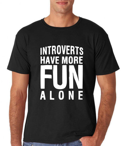 Introverts have more fun alone Mens T Shirts White-Gildan-Daataadirect.co.uk