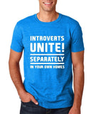 "Introverts unite separately Mens T Shirts White-T Shirts-Gildan-Antique Sapphire-S To Fit Chest 36-38"" (91-96cm)-Daataadirect"