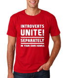 "Introverts unite separately Mens T Shirts White-T Shirts-Gildan-Cherry Red-S To Fit Chest 36-38"" (91-96cm)-Daataadirect"
