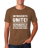 "Introverts unite separately Mens T Shirts White-T Shirts-Gildan-Chestnut-S To Fit Chest 36-38"" (91-96cm)-Daataadirect"
