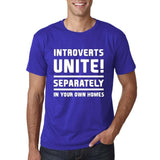 "Introverts unite separately Mens T Shirts White-T Shirts-Gildan-Cobalt-S To Fit Chest 36-38"" (91-96cm)-Daataadirect"