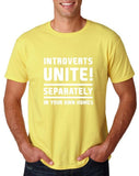 "Introverts unite separately Mens T Shirts White-T Shirts-Gildan-Corn Silk-S To Fit Chest 36-38"" (91-96cm)-Daataadirect"