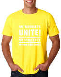 "Introverts unite separately Mens T Shirts White-T Shirts-Gildan-Daisy-S To Fit Chest 36-38"" (91-96cm)-Daataadirect"