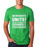 "Introverts unite separately Mens T Shirts White-T Shirts-Gildan-Heather Irish Green-S To Fit Chest 36-38"" (91-96cm)-Daataadirect"