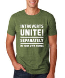 "Introverts unite separately Mens T Shirts White-T Shirts-Gildan-Heather Military Green-S To Fit Chest 36-38"" (91-96cm)-Daataadirect"
