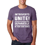 "Introverts unite separately Mens T Shirts White-T Shirts-Gildan-Heather Purple-S To Fit Chest 36-38"" (91-96cm)-Daataadirect"