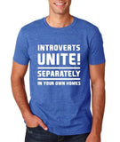 "Introverts unite separately Mens T Shirts White-T Shirts-Gildan-Heather Royal-S To Fit Chest 36-38"" (91-96cm)-Daataadirect"