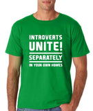 "Introverts unite separately Mens T Shirts White-T Shirts-Gildan-Irish Green-S To Fit Chest 36-38"" (91-96cm)-Daataadirect"