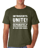 "Introverts unite separately Mens T Shirts White-T Shirts-Gildan-Military Green-S To Fit Chest 36-38"" (91-96cm)-Daataadirect"