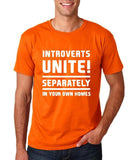 "Introverts unite separately Mens T Shirts White-T Shirts-Gildan-Orange-S To Fit Chest 36-38"" (91-96cm)-Daataadirect"