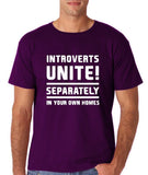 "Introverts unite separately Mens T Shirts White-T Shirts-Gildan-Purple-S To Fit Chest 36-38"" (91-96cm)-Daataadirect"