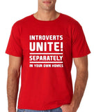 "Introverts unite separately Mens T Shirts White-T Shirts-Gildan-Red-S To Fit Chest 36-38"" (91-96cm)-Daataadirect"