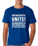 "Introverts unite separately Mens T Shirts White-T Shirts-Gildan-Royal Blue-S To Fit Chest 36-38"" (91-96cm)-Daataadirect"