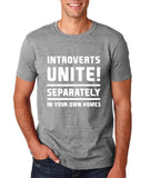 "Introverts unite separately Mens T Shirts White-T Shirts-Gildan-Sport Grey-S To Fit Chest 36-38"" (91-96cm)-Daataadirect"