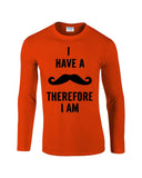 "I've mustache therefore I'm Mens Long SleeveT Shirt Black-Long Sleeve T Shirts-Gildan-orange-S To Fit Chest 36-38"" (91-96cm)-Daataadirect"