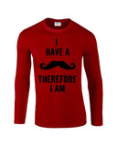"I've mustache therefore I'm Mens Long SleeveT Shirt Black-Long Sleeve T Shirts-Gildan-red-S To Fit Chest 36-38"" (91-96cm)-Daataadirect"