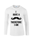 "I've mustache therefore I'm Mens Long SleeveT Shirt Black-Long Sleeve T Shirts-Gildan-white-S To Fit Chest 36-38"" (91-96cm)-Daataadirect"