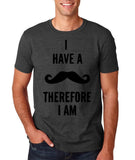 "I've mustache therefore I'm Mens T Shirt Black-T Shirts-Gildan-Dk Heather-S To Fit Chest 36-38"" (91-96cm)-Daataadirect"