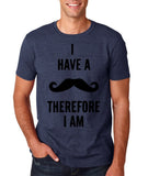 "I've mustache therefore I'm Mens T Shirt Black-T Shirts-Gildan-Heather Navy-S To Fit Chest 36-38"" (91-96cm)-Daataadirect"
