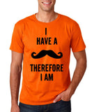 "I've mustache therefore I'm Mens T Shirt Black-T Shirts-Gildan-Orange-S To Fit Chest 36-38"" (91-96cm)-Daataadirect"