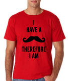 "I've mustache therefore I'm Mens T Shirt Black-T Shirts-Gildan-Red-S To Fit Chest 36-38"" (91-96cm)-Daataadirect"