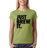 Just brew it Black Womens T Shirt-Gildan-Daataadirect.co.uk