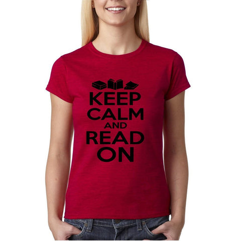 "Keep calm and read on Black Womens T Shirt-T Shirts-Gildan-Antique Cherry-S UK 10 Euro 34 Bust 32""-Daataadirect"