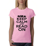 Keep calm and read on Black Womens T Shirt-Daataadirect